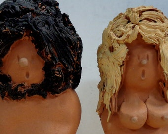 Adam and Eve, New Age,Hippie,Nudist,Nik Nak,Statuettes,Bisque,Unglazed Pottery,Terracotta and Paint,Anatomically Correct.Adult Novelty