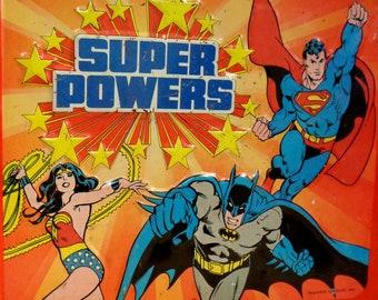 DC Comics, SUPER POWERS,Aladdin Metal Lunchbox,1983,Superman,Wonder Woman,Batman,Robin,Justice League, Gotham,Jerry Siegel, Joe Shuster,Dcu