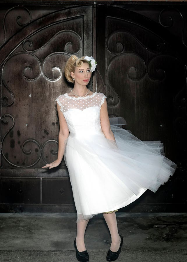 Polka Dot Retro Wedding Dress Sie 2 24 Short Wedding Dress Etsy