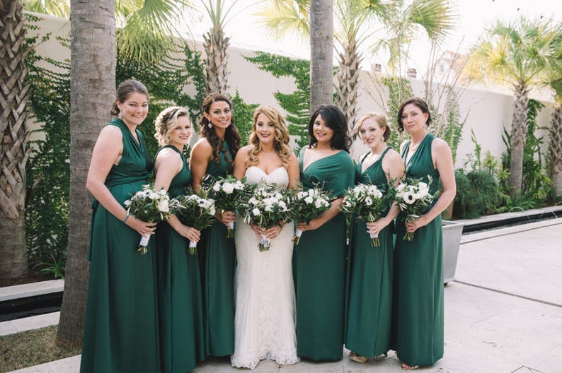 Vacation Infinity Convertible Dress Hunter Green...Bridesmaids Cocktail Party Special Occasion Prom Beach Date Night