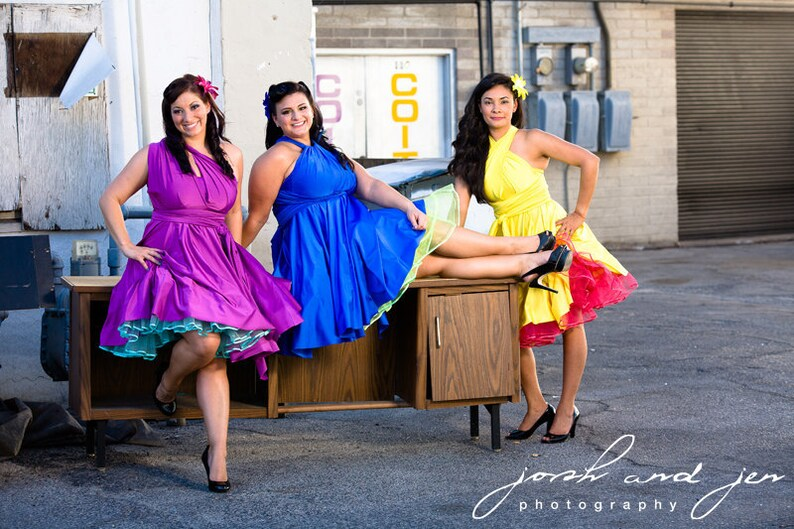 Prom Aline Dress or Circle Retro Dress .. Honeymoon Beach Yellow Bridesmaids Convertible Dress ... Bridesmaids Cocktail Party Wedding
