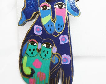 Laurel Burch Dog and Cat Tag Vintage Painted Wood Vintage Mod Happy Pet Lovers Dog and Cat