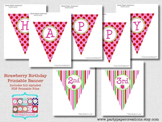 Strawberry Birthday Printable Banner Pdf Files Full Alphabet Printable Alphabet And Numbers Instant Download