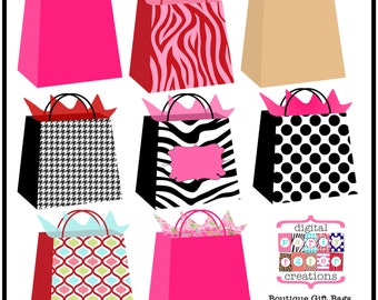 Boutique Gift Bags Clipart - Printable Gift Bag Illustration -  Boutique Graphics