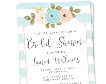 Floral Bridal Shower Invitation, Floral Wedding Shower Invitation, Printable Bridal Shower Invitation