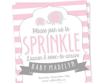 Elephant Baby Sprinkle Invitation - Elephant Baby Shower Invitation - Girl Sprinkle Invite