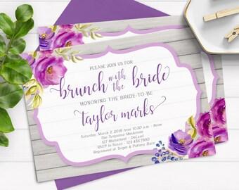 Brunch Bridal Shower Invitation, Bridal Brunch Invitation Purple, Purple Floral Bridal Shower, Printable Bridal Brunch Invitation, Rustic