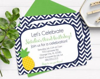 Pineapple Birthday Invitations, Luau Invitations, Tropical Invitations, Hawaiian Invitations, Navy Birthday Invitations , Adult Birthday
