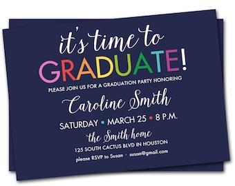 Graduation Party Invitation, Flower Graduation Party Invite, Graduation Party Invite