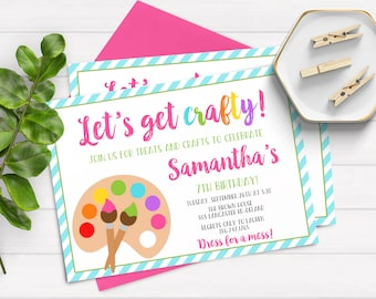 Arts and Crafts Birthday Party Invitation Kids Art Party Invite Rainbow Art Party Invitation Art Birthday, Painting Party, Painting Birthday