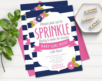 Floral Baby Sprinkle Invitation - Baby Shower Invitation - Sprinkle With Love - Gray and Pink Sprinkle Invitation