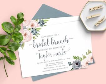 Brunch Bridal Shower Invitation, Invitation Template, Dusty Blue Floral Bridal Brunch, Printable Bridal Brunch Shower Invitation