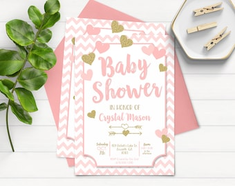 Gold Baby Shower Invitations, Pink and Gold Baby Shower Invitation, Girl Baby Shower Invitation, Printable Baby Shower Invitation