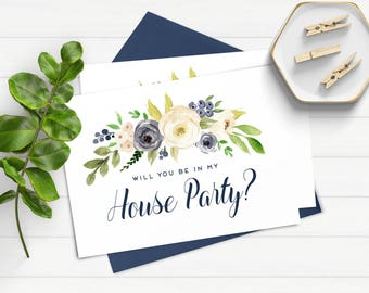 Will You Be In My House Party Proposal Card House Party Proposal Be In My House Party Bridal Party Card Watercolor Bridal