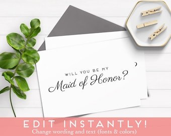 Editable Will You Be My Bridesmaid Card, Will You Be My Bridesmaid Download, Bridesmaid Proposal, Instant Download, Printable, Bridesmaid