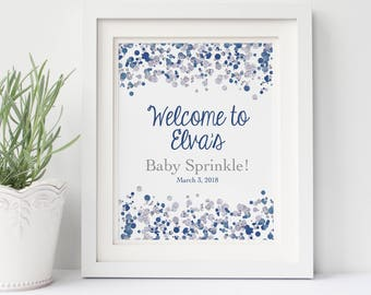 Navy Baby Shower Welcome Sign Printable Shower Sign Baby Sprinkle Decorations Sprinkle Shower Decorations Baby Shower Sign Signage
