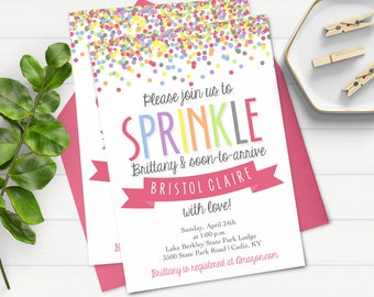 Rainbow Sprinkle Invitation - Baby Shower Invitation - Sprinkle With Love - Pink Sprinkle Invitation