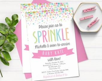 Baby Sprinkle Invitation - Baby Shower Invitation - Sprinkle With Love - Pink and Green Sprinkle Invitation