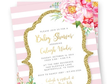 Pink and Gold Baby Shower Invitation, Pink and Gold Shower Invite, Gold Glitter Invitation, Pink and White Invitation