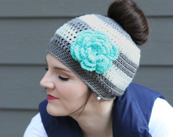 Messy Bun Crochet Hat Pattern, Ponytail Hat Crochet Pattern, Crochet Beanie Pattern, Crochet Hat Pattern