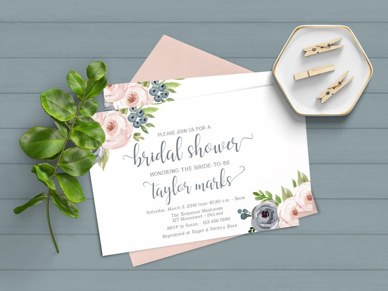 925ddf9aff92 Dusty Blue and Mauve Invitation Dusty Blue Shower Invitation