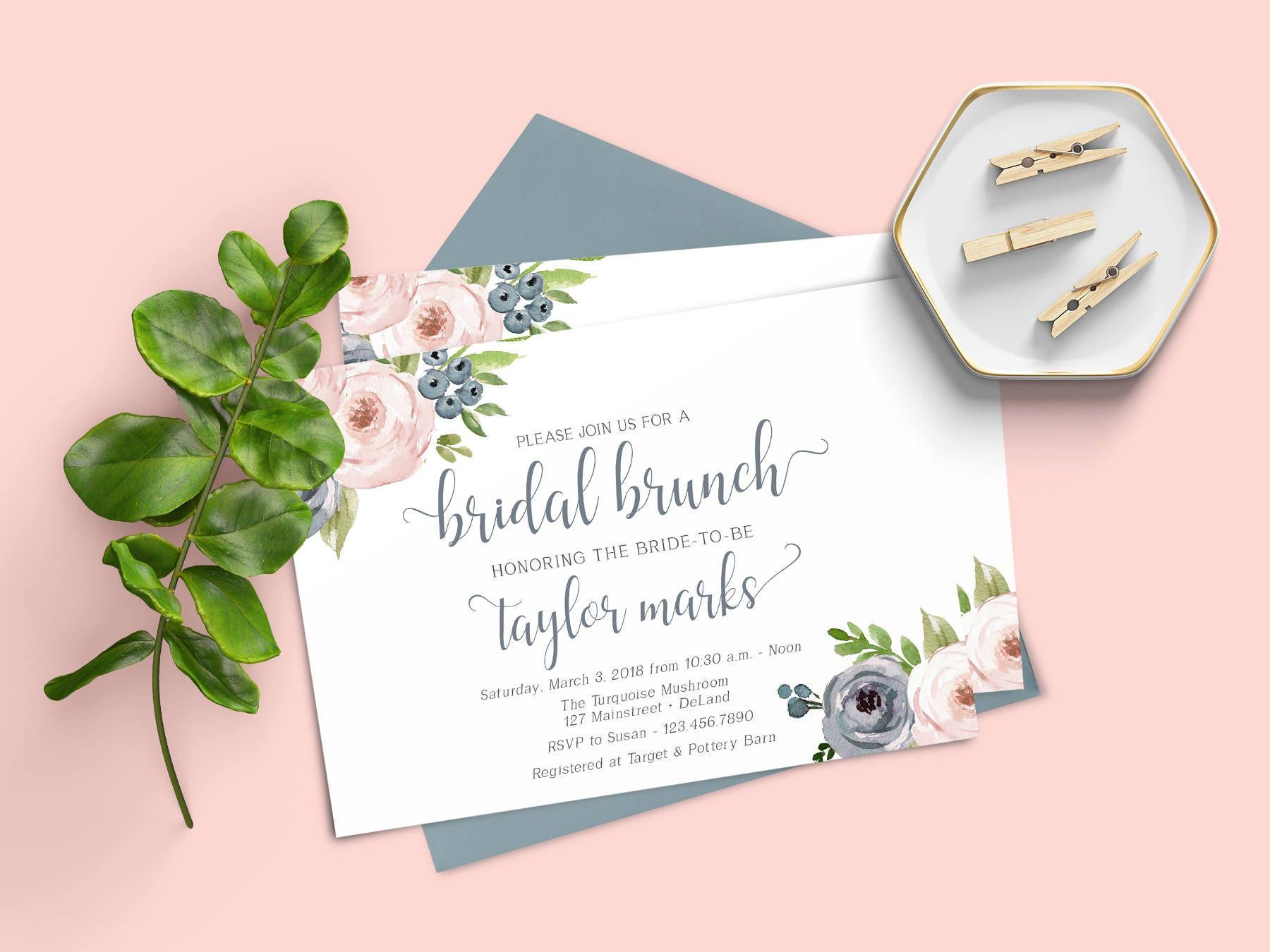 Brunch Bridal Shower Invitation Invitation Template Dusty | Etsy