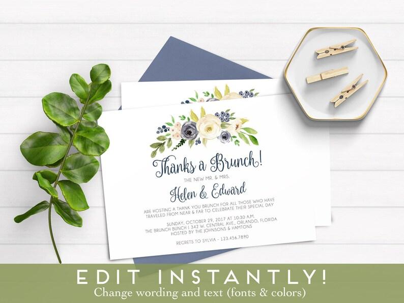 Thanks A Brunch Invitation Post Wedding Brunch Invitation Etsy