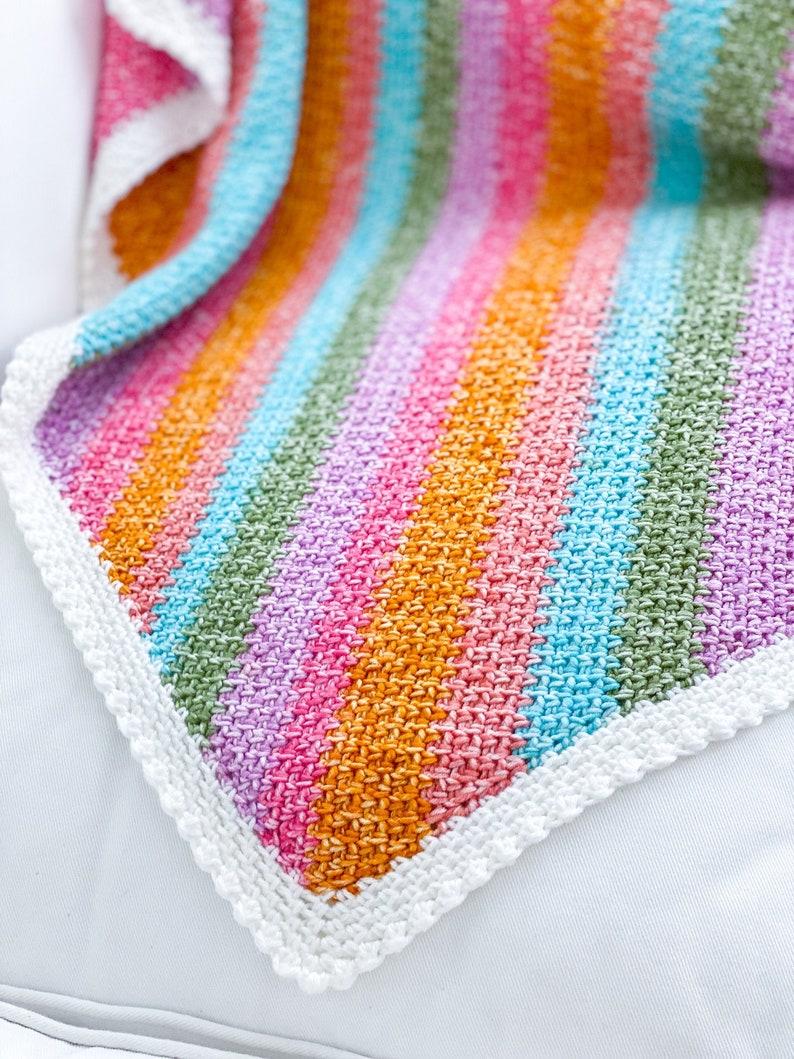 C2C Moss Stitch Crochet Pattern with Mini Bobble Border Linen image 0
