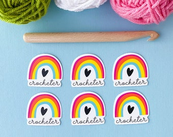Gift for Crocheters, Gifts for Crafters, Crochet Sticker, Yarn Sticker, Yarn Lover Sticker, Decal for Crocheters, Rainbow Crochet Sticker