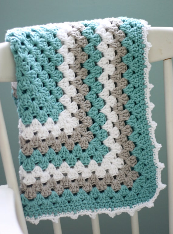 Modern crochet baby rug