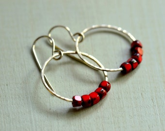 Red July Earrings Hammered Sterling Silver Jewelry