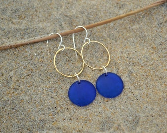 Blue glass earrings yellow gold filled circles cobalt earrings