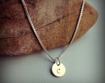 Silver Letter C necklace Stamped Monogram Mothers Initial Necklace