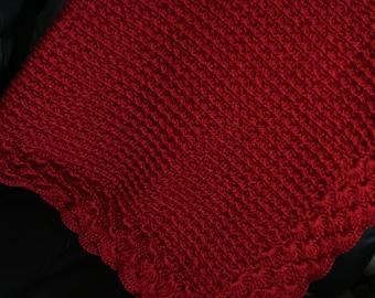 Deep Red Crochet Baby Blanket