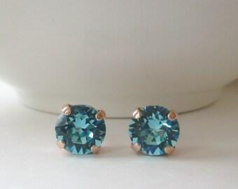Turquoise Earrings, Teal Earrings, Swarovski Crystal Earrings,Bridesmaid Jewelry, Bridal Jewelry, Beach Wedding Jewelry, Crystal Studs, Blue