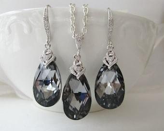 a0bf70e6d Grey Earrings and Necklace Set, Swarovski Crystal Silver Night, Dark Grey  Earrings,Charcoal Jewelry Set,Teardrop Earrings,Teardrop Necklace