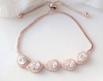 Wedding Party Jewelry, Slider Bracelet, Bridal Bracelet, FREE SHIPPING, Bridesmaids Bracelet, CZ,  Bridal Jewelry, Bridesmaid Jewelry Set
