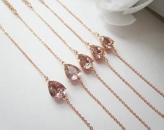 Bridesmaids Bracelets, Set of 2, Set of 3, Set of 4, Set of 6, Set of 7, Blush Bracelet, Rose Gold Bracelet, Set of 5,Swarovski