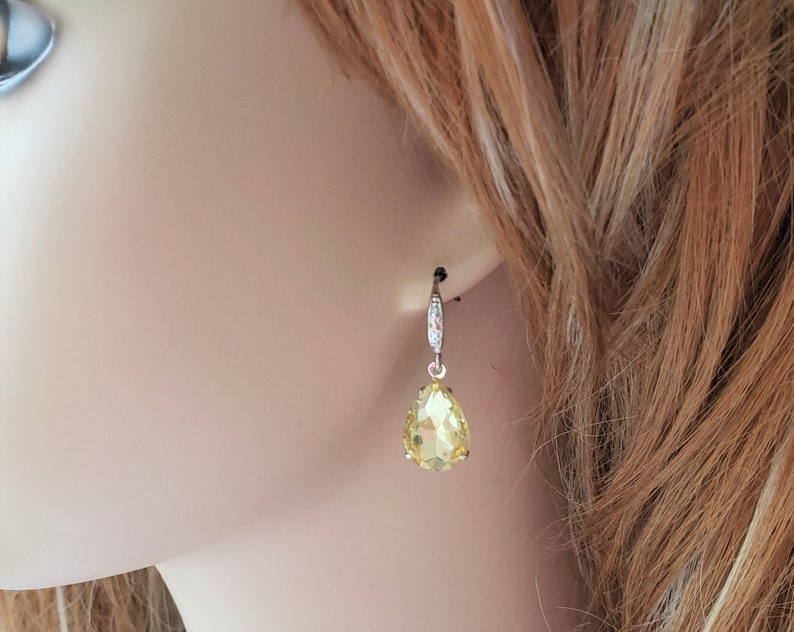 Yellow Wedding Bridal Party Jewelry, Bridesmaid Earrings Teardrop Earrings Yellow Earrings Pastel Earrings