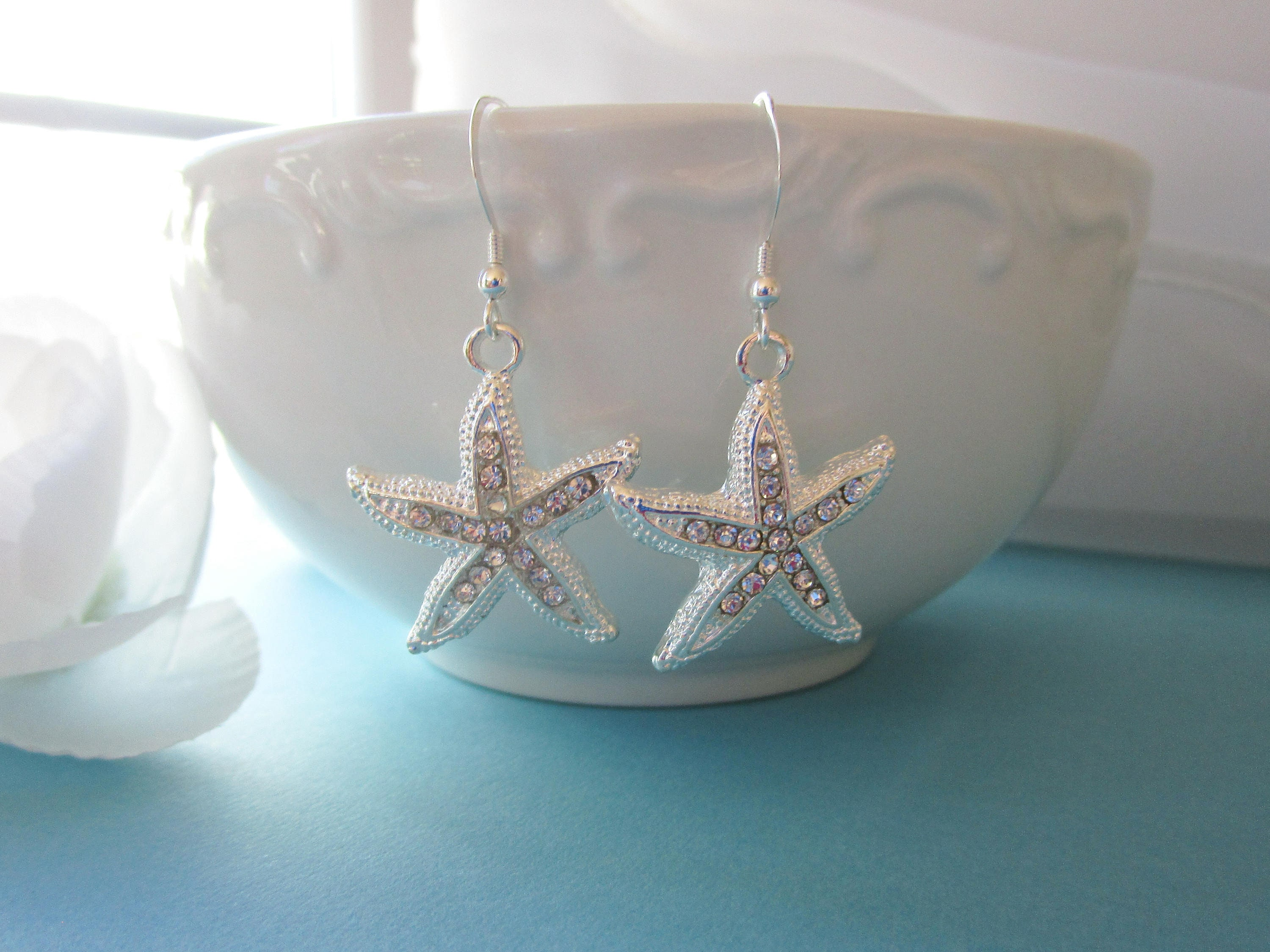 Rhodium Sparkle-3278 Beach Wedding Yellow or Rose Gold Clear Cubic Zirconia CZ /& Colour Crystal Starfish Dangle Bridal Earrings