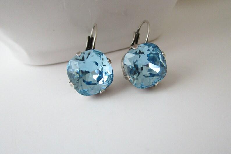 Something Blue Blue Crystal Earrings Cushion Cut Earrings FREE SHIPPING Birthstone Earrings Aquamarine Earrings Bridesmaid Earrings