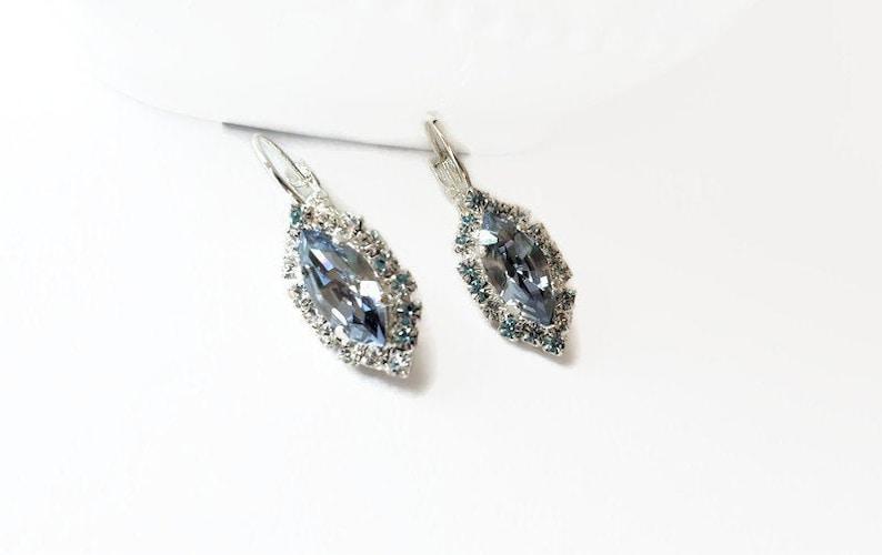 Dusty Blue Earrings Bridal Wedding Jewelry French Blue Earrings Something Blue Silver Marquise Dusty Blue Bracelet Bridal Earrings