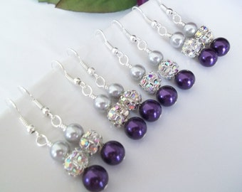 Bridesmaid Earrings Set of 6,Dark Purple & Silver Pearl Earrings,Bridesmaid Earrings Set of 6, Purple Bridesmaid Jewelry,Silver Earrings