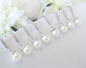 Bridesmaids Earrings Set of 7, Seven Pairs Earrings,Bridesmaid Jewelry, Seven, 7, Swarovski Pearl Earrings,Bridesmaid Earrings, Single Pearl