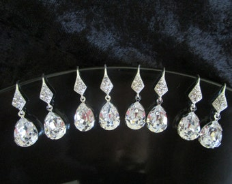 Bridesmaid Jewelry Set of 6, Bridesmaids Earrings, Swarovski Crystal Earrings, Six Bridesmaids, Bridal Party Gifts, Six, Set of 6, Six Pairs