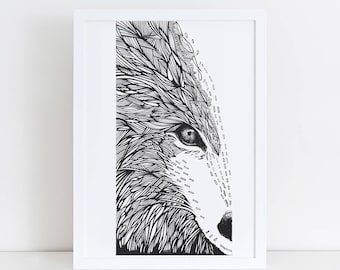 A1 Wolf Art Print | Animal Poster | Black and White