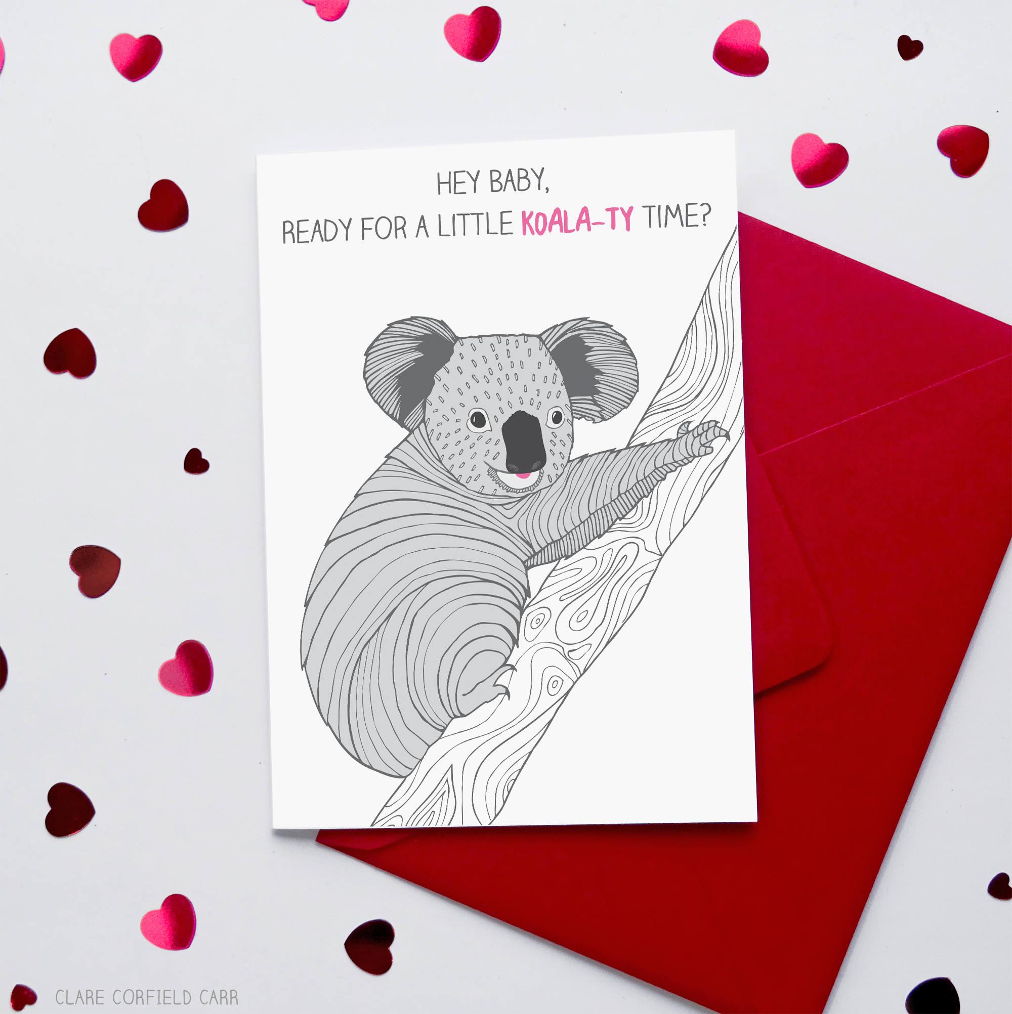 Funny Valentine S Card Koala Ty Time Etsy