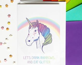 Funny Unicorn Birthday Card