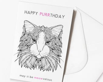 Funny Cat Birthday Card | 'HAPPY PURRTHDAY' Cat Birthday Card | Funny Cat Card | Funny Birthday Card | Cat Pun | Cats | Grumpy Cat