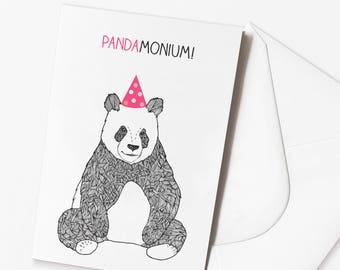 Funny Panda Birthday Card - 'Pandamonium' Funny Pun Birthday Card
